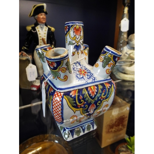 7 - A French Faience Earthen ware udder vase, signed to base...