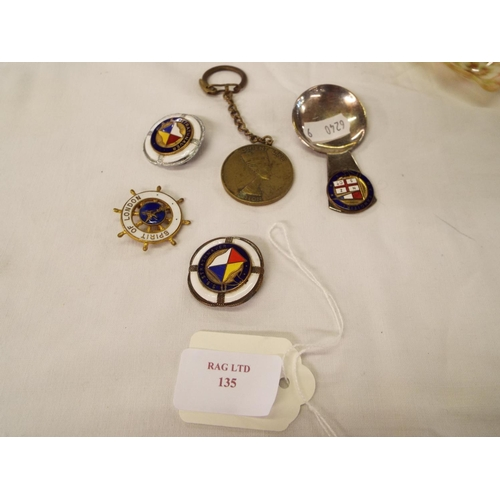 135 - A brass Orient Line medallion, Blue Bird travel and tourist agency quick trips and to Cairo & Port S...