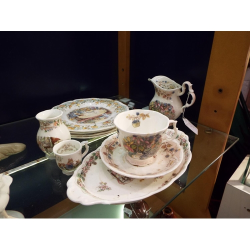 11 - A selection of Royal Doulton 'Bramley Hedge' plates, cups and saucers, cream jug to include 'Autumn ...