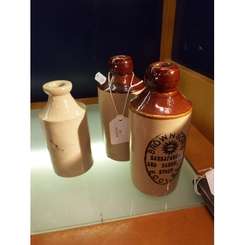 15 - Two Pearson's of Chesterfield stoneware bottle advertising 'Brown Sons', Eccels  'Sarsaparilla and D...