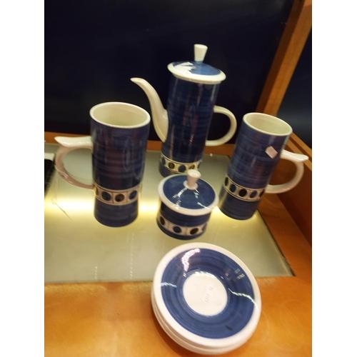 26 - A Cinque Ports blue and white coffee set