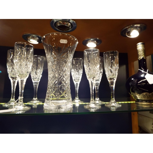 29 - A set of eight lead crystal wine glasses and a crystal vase
