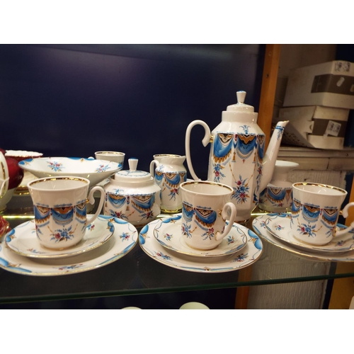 31 - A hand painted St Petersburg Russian Imperial tea-set with garland and floral decoration, marks to b...