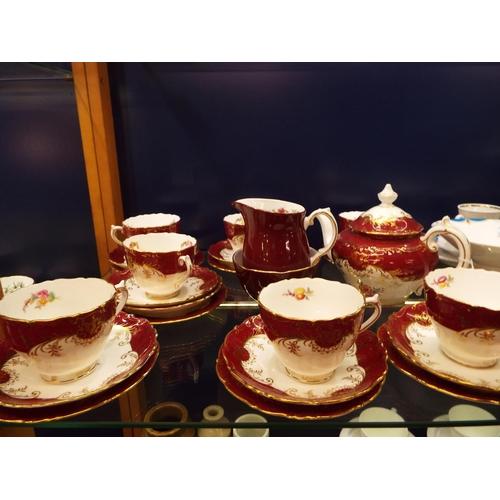 32 - A Coalport Sandringham tea-set with floral decoration