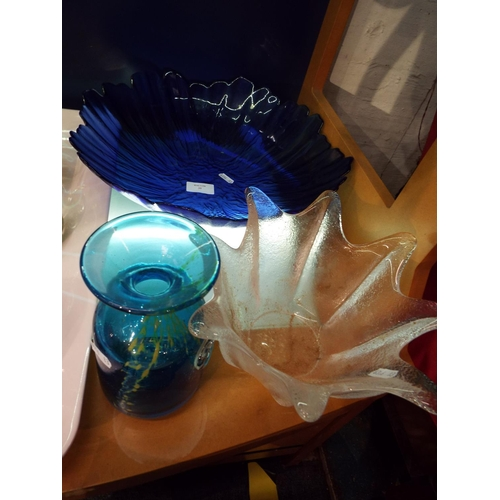 35 - A Mdina blue glass vase and two glass bowls