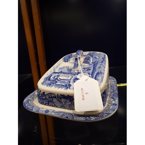 5 - A Spode blue and white cheese dish and another