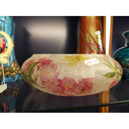 46 - A large iridescent art glass vase together with a French art glass vase and a pink floral fruit bowl