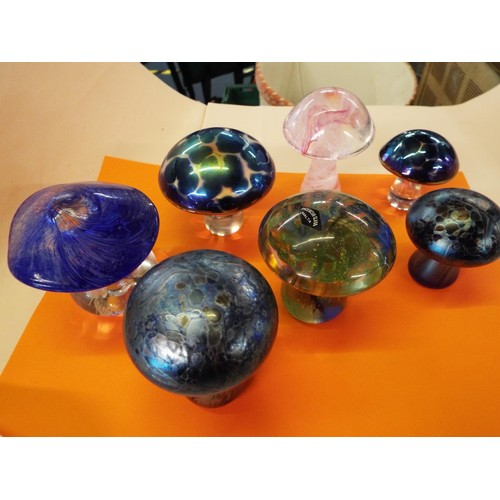 9 - A selection of glass mushrooms to include Isle of Wight and Malta