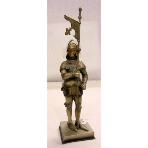Medieval Knight Table Top Lighter Holding Flagstaff With