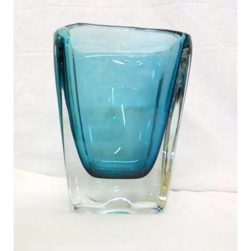 Whitefriars Glass Vase Blue With Clear Tapering Rectangle Pattern