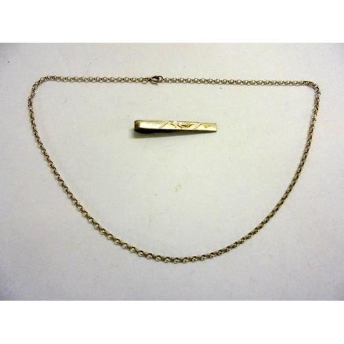 410 - Silver Tie Slide & Silver Chain...