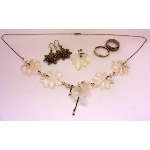 425 - Silver/925 Marked Rings, Vintage Style Silver Leaf Necklaces, Filigree Earrings etc....