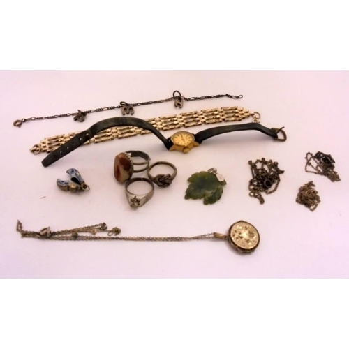 428 - Silver Chains, pendant, silver rings, Rotary Wristwatch & Gate Bracelet etc. (Wooden Brass Inlaid Bo...