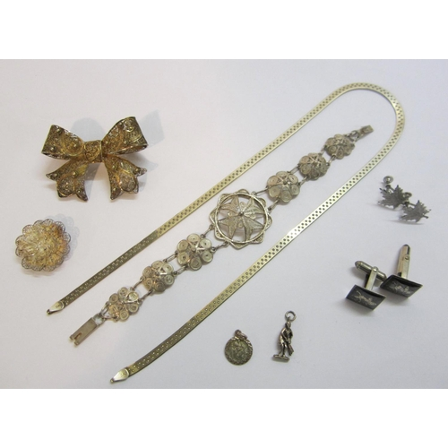 434 - Silver/925/White Metal Jewellery incl. pair Thai style cufflinks, filigree bracelet, gilt bow brooch...