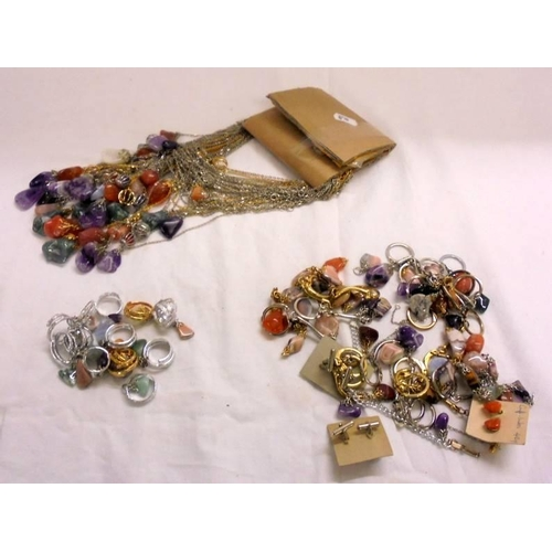 422 - New Polished Stone Jewellery incl. gilt & white metal chains, rings, key rings, necklaces etc....