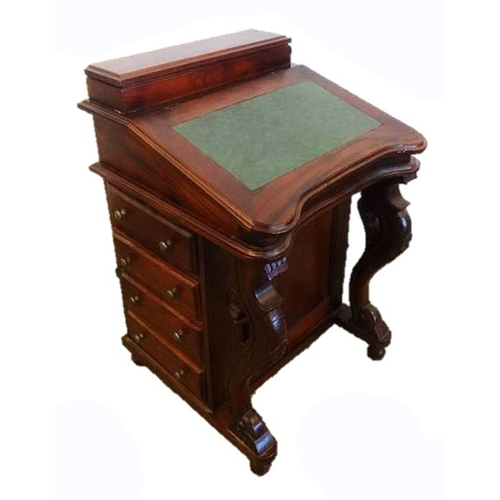 18 - Reproduction Mahogany Victorian Style Davenport with nest of 4 drawers, on cabriole carved front sup...