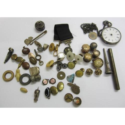 437 - Silver, Nickel & Base Metal Men's Jewellery Items incl. cufflinks, dress studs, pocket watch (a/f) e...