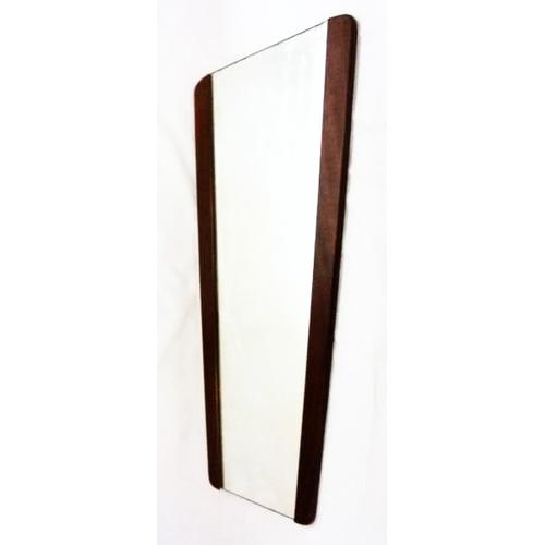 13 - 1970s Teak Framed Mirror, tapering wedge shape with teak borders...