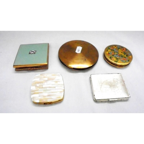 401 - Powder Compacts incl. silver plated, lacquered brass, engine turned, enamelled with red ensign & mot...