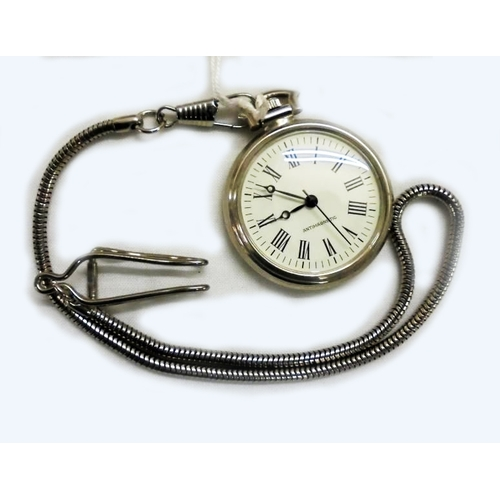 407 - Chromium Plated Gents Pocket Watch with top wind, chrome chain...