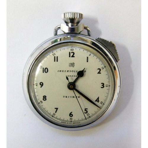 405 - Ingersoll Triumph Chrome Pocket Watch, top wind with sweep second hand, stopwatch facility...