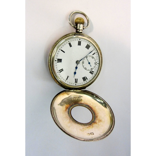 435 - Early C20th Silver Half Hunter Pocket Watch with top wind, outer case with enamelled Roman numerals,...