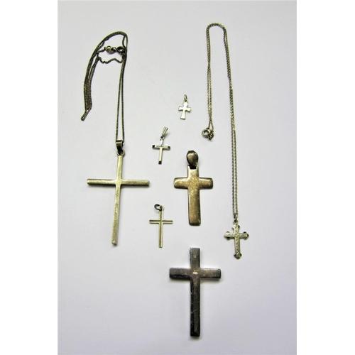 409 - Silver/925 Cross Pendants, 2 on chains...