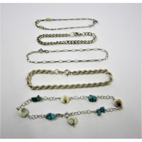 413 - 2 Silver/925 Chain Bracelets & 3 Light Silver/925 Bracelets 2 with shells/beads (5)...