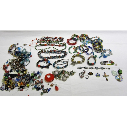 414 - Millefiori Style Glass Beaded Costume Jewellery, earrings, necklaces, Millefiori Style Glass Beaded ...
