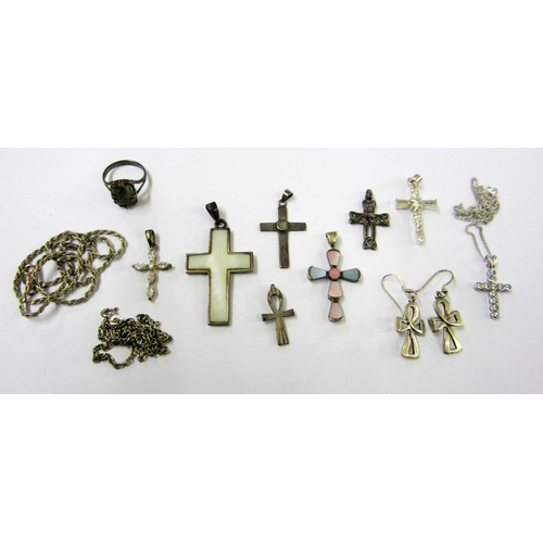 416 - Silver/925 Cross Pendants set Mother of Pearl pair cross earrings & matching pendant & green stone s...