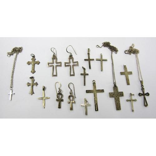 417 - Silver/925 Cross Pendants & earrings...
