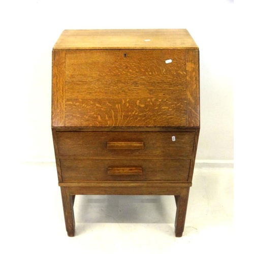 1 - Light Oak Bureau with fall enclosing fitted nest of pigeon holes & drawer, 2 long drawers with woode...