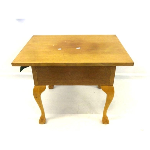 10 - Light Oak Work Table with hinged cover, on cabriole ball & claw supports...