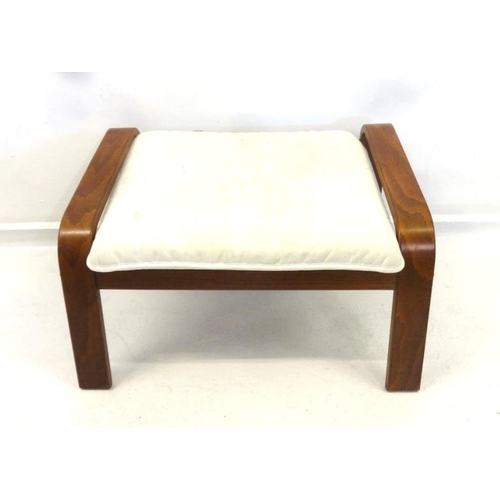 15 - Ikea Poang Footstool with cloth upholstered seat on bent strapwork supports...