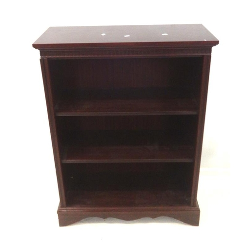 2 - Simulated Mahogany Open Bookshelves with dentil cornice on bracket supports...