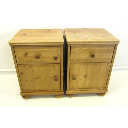 25 - Pair Pine Bedside Cabinets with drawers & cupboard under, on flattened bun supports (2)...