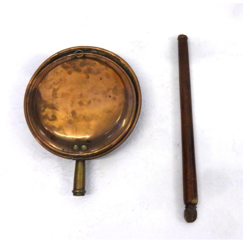 28 - Copper Warming Pan with part turned wood handle (a/f)...