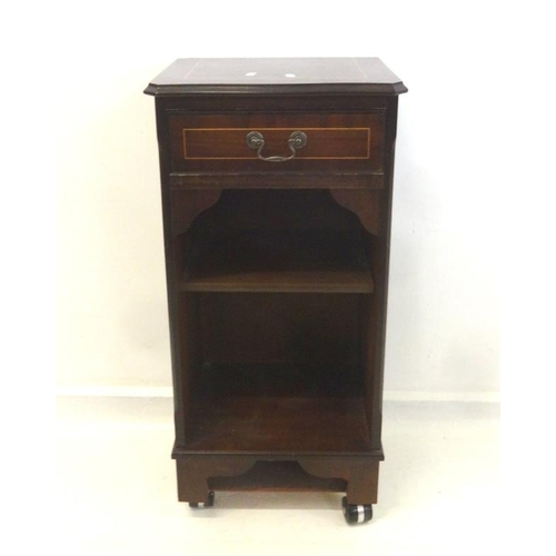 3 - Bedside Cabinet with cross banded top, single drawer, open shelves, on Shepherds castors...
