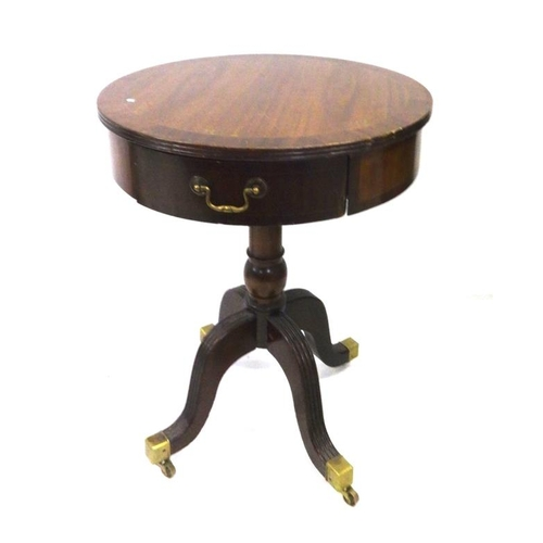 30 - Mahogany Reproduction Drum Table with frieze drawer & cross banded top, on 4 reeded brass capped sup...