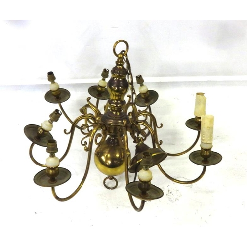 39 - Heavy Dutch Style 8 Branch Electrolier with scrolling arm supports & drip pans, ceiling rose & suppo...