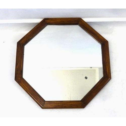 40 - Hexagonal Oak Framed Wall Mirror...