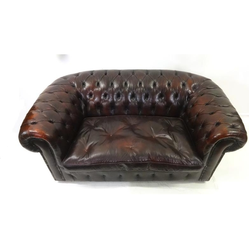 43 - Burgundy Leather Deep Button 2 Seater Chesterfield Sofa...