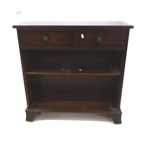 5 - Dwarf Bookcase with 2 frieze drawers, ring pull handles, on bracket supports...