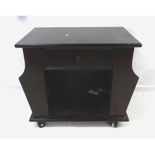 9 - Mahogany Effect Lamp Table with frieze drawer, open hutch & magazine rack...