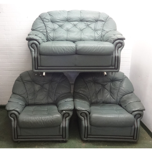 7 - Grey Leather 2 Seater Sofa & Pair Matching Armchairs (3)...