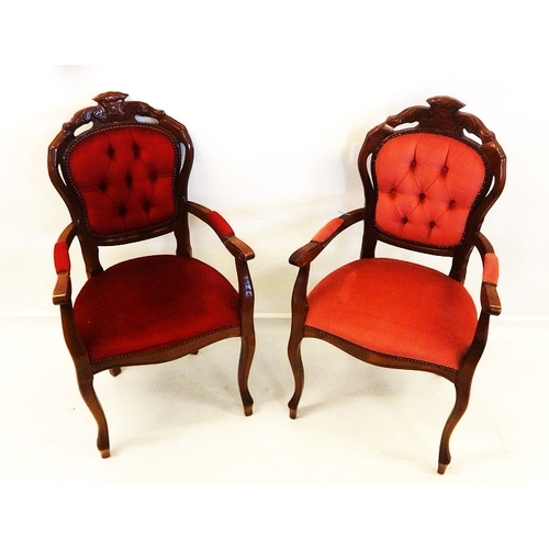 34 - Pair Reproduction Victorian Style Button Back Armchairs with upholstered arm supports, on cabriole s...