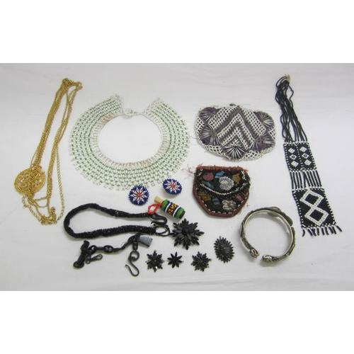 423 - Beadwork Purse, necklace etc., some requiring restoration, gilt necklace, jet & black chains...