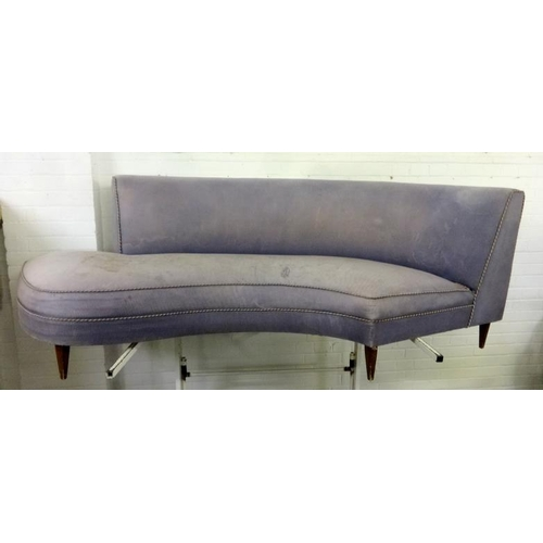 21 - Unusual Curved Sofa with fabric upholstery...
