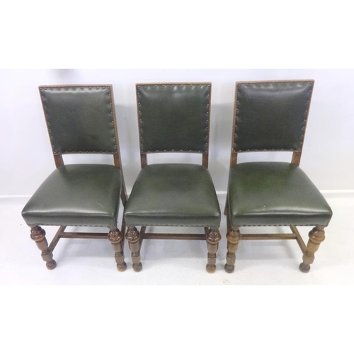 37 - 3 Green Leather Side Chairs with overstuffed seats & panelled backs (3)...