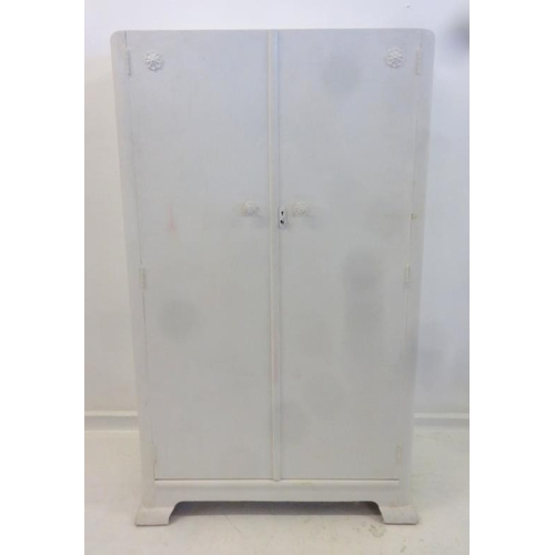 38 - 2 Door White Painted Low Wardrobe on shaped supports...